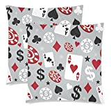 InterestPrint Custom 2 Pack Colorful Poker Throw Pillow Case Covers 18x18 Twin Sides, Playing Card Poker Cotton Zippered Cushion Pillowcase Set Decorative