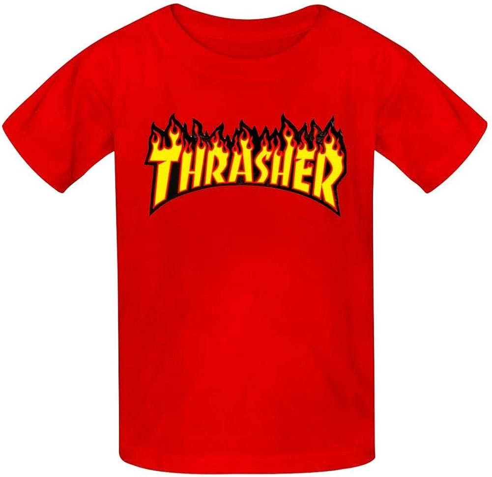 PHD BRU-NO Thrasher Youth Kids Cotton T-Shirts Summer Slim-fit Printed Fashion Tee
