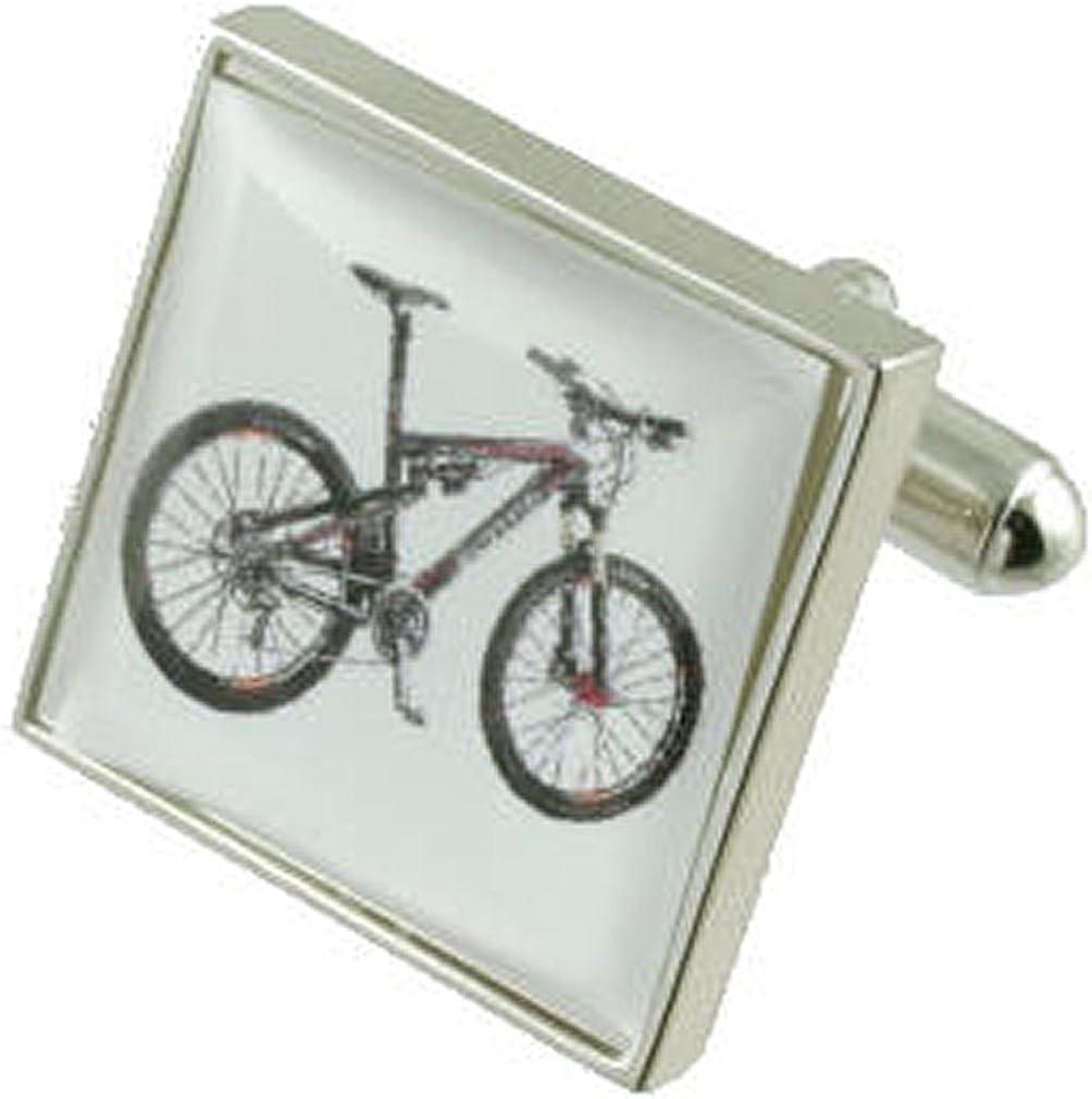Bicicleta de plata gemelos~deportes de montaña Bike Cuff Links ...