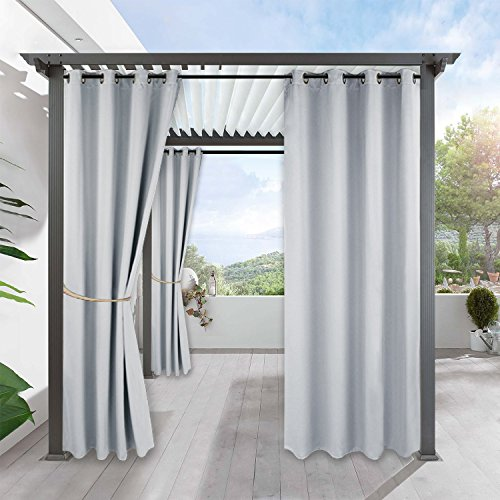 RYB HOME Patio Curtain Outdoor - Sun Light Block Thermal Insulated Shade Windproof Grommet Curtain Blackout for Porch Pergola Garden Lawn, 1 Panel, Wide 52 x Long 84 inches, Grayish White