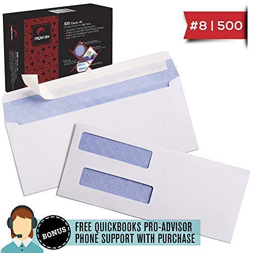 (8 Envelopes Self Seal, 500, QB Check Envelopes, QuickBooks Payroll, Peel & Seal, Security Double Window, 8 11/16 x 3 5/8, 8 Envelope fits Similar to 8 5/8, Bonus QB Pro-Advisor Phone/Email Support)
