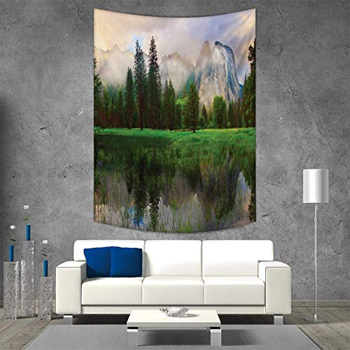 (smallbeefly Yosemite Wall Tapestry Sunset Panorama Yosemite Cathedral Rocks Trees Cloudy Sky Reflection Riverside Home Decorations Living Room Bedroom 60W x 91L INCH Beige Green)