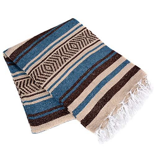Vera Cruz - Mexican Yoga Blankets - 10-Pack - Wholesale Pricing - Made in Mexico (Slate Blue/Brown/Tan)