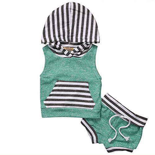 Newborn Baby Boys Girls Clothes Set 2 Pieces Stripe Vest HoodieShort Pants 36m Green