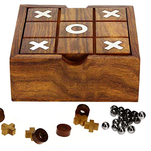 SKAVIJ 2-in-1 Wooden Tic Tac Toe and Solitaire Travel Board Game Handmade Wooden Pegs and Steel Ball for Solitaire