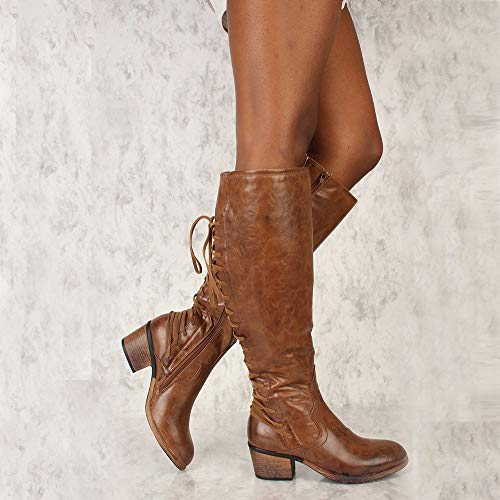 70S Winter High Women Size Chunky Insoles Riding 10 Brown Up 3 Motorbike Martin Horse Biker Lolittas Desert Knee Shoes Lace Platform Tactical High Boots Retro Heel YxqB8U