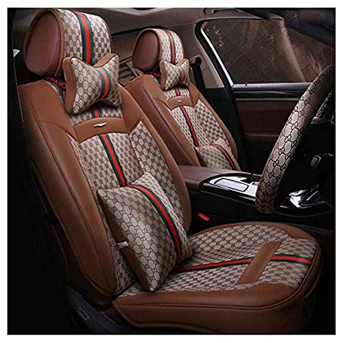 Car seat cushion for leather seats Luxury Universal Anti-Slip Driver Seat Cover with Backrest, Fit Most Midsize Vehicles, SUV, or Van,Brown: