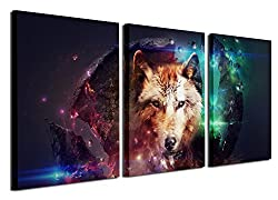 Gardenia Art - Animal Canvas Prints Wolf Wall Art Paintings Cool Pictures Artworks for Bedroom Living Room Decoration,16x12 inch/Piece, Framed, 3 Panels