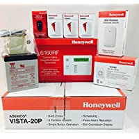 Honeywell Vista 20P, 6160RF Keypad, (3) 5800MINI Door/Window Sensors, 5853 GlassBreak, 5834-4 Keyfob, Battery, Siren, Jack and Cord Kit Package (5811 Replacement)