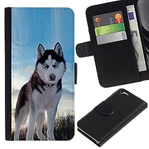 """Apple (4.7 inches!!!) iPhone 6 , la tarjeta de Crédito Slots PU Funda de cuero Monedero caso cubierta de piel ("""" Alaskan Malamute Husky Blue Winter North"""")"""