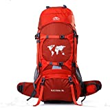 Topsky Outdoor Sports Waterproof Hiking Climbing Camping Mountaineering Internal Frame Backpack 70L Unisex Large Trekking Travel Daypacks with Rain Cover (Can extension to 80L) (Orange)