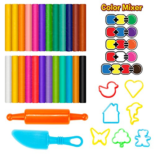 Creative Kids 24 Assorted Clay Kit for Kids - 9 Clay & Dough Tools for Children - Modeling Clay Set with Assorted Clay Colors, 7 Clay Cutters, 1 Clay Knife, 1 Roller & Transparent Travel Storage