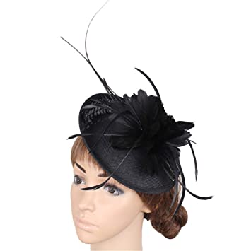 Coiffe de mariée Femmes Vintage Fascinator Chapeau Plume Fleur De Mariage  Chapeaux Cheveux Accessoires Halloween Royal