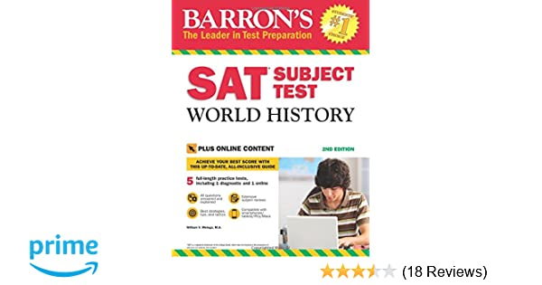 Amazon barrons sat subject test world history 2nd edition amazon barrons sat subject test world history 2nd edition with bonus online tests 9781438010007 william melega med books fandeluxe Image collections