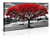 pictures of white kitchens Large Wall Art Decor Canvas Print Picture Black and White Themed Red Tree Landscape Decoration Modern Artwork for Office Home Bedroom Living Room 24x48in with Framed