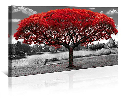 Large Wall Art Decor Canvas Print Picture Black and White Themed Red Tree Landscape Decoration Modern Artwork for Office Home Bedroom Living Room 24x48in with Framed
