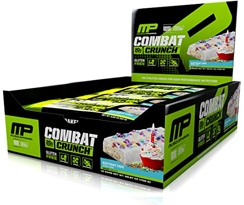 MusclePharm Combat Crunch Protein Bar, Birthday Cake, 12 Bars