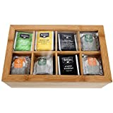 Lily's Home Bamboo Wood Tea Box Chest Organizer