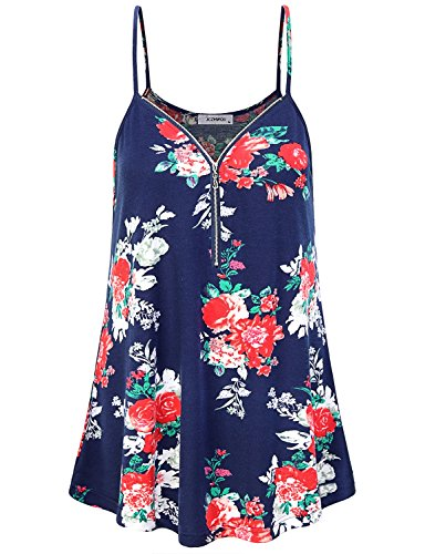 JCZHWQU Summer Tops for Women, Juniors Tank Tops Super Cute Soft Stretchy Scalloped Hemline Vibrant Paisley Printed Cami Tunic Mini Dress Beach Clothes Floral Print Navy M Mini Dress Kimono Top