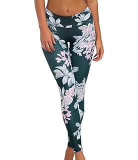 2104fe49a9e677 Moorui Damen Yoga Leggings Blume Print Workout Gym Tights Fitness Lounge  Sporthose