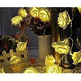 Uping Stringa di Luci, Bianca, Catena Luminosa, 2,2 Metri, 20 Rose, Decorativa da Interni e Esterni, anche per Festa, Giardino, Natale, Halloween, Matrimonio