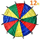 GSI Kids Play Parachute Rainbow Parachute Toy Tent Game for Children Gymnastic Cooperative Play and Outdoor Playground Activities (12 Feet 12 Handles)