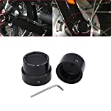 TUINCYN Black Motorcycle Front+Rear Axle Cover Cap Nut Bolt Kit Bike Decoration Accessories for Harley Sportster XL 883 1200 Dyna Touring V-Rod Softai Glide (1 Pair)