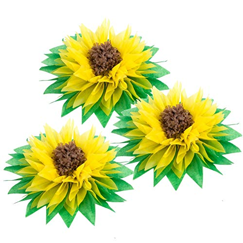 3Pcs 12'' Yellow Tissue Paper Sunflowers Paper Pom Poms Sunflower Party Decoration Summer Birthday Wedding Party Table Centerpiece Decor Easy Joy