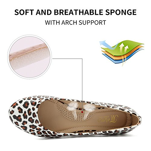 CIOR Women BalletFlats Classy Girls Simple Casual Slip-on Comfort Walking Shoes from Merence Leopardsuede