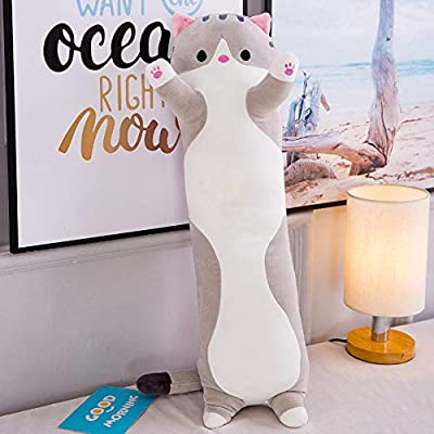 Cute Soft Plush Cat Hugging Pillow, Comfy Sleeping Pillow Cushion Soft Stuffed Kitten Doll Cat Teddy Plush Toy Gift, Office Lunch Break Sleeping Pillow, for Kids Girlfriend Birthday Gift (150cm,Gray): Kitchen & Dining