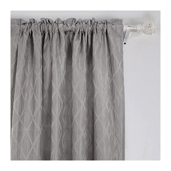 Deconovo Meridian Rod Pocket Jacquard Weave Rhombic Pattern Kitchen Window Curtains Curtain Pair for Kids Room 52 x 95 Inch Light Grey 2 Panels - Two Panels Per Package. Each panel measures 52 W x 95 L inch. Deconovo thermal curtains are silky, soft, drapery and very pleasant to touch and gives an elegant look to any room. The material is made up of 100% imported polyester. - living-room-soft-furnishings, living-room, draperies-curtains-shades - 51iKzqF8dFL. SS570  -