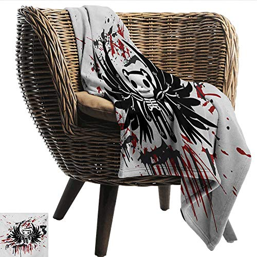 smllmoonDecor Super Soft Blankets Halloween Teddy Bones with Skull Face and Wings Dead Humor Funny Comic Terror Design Home, Couch, Outdoor, Travel Use W72 xL72 Sofa,Picnic,Camping,Beach,Everyday use -