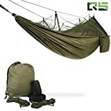 Camping Hammock — Portable Mosquito Hammocks Lightweight & Compact - for Outdoor, Hiking, Camping, Backpacking, Travel, Backyard, Beach Or Any Adventure(Dark green)
