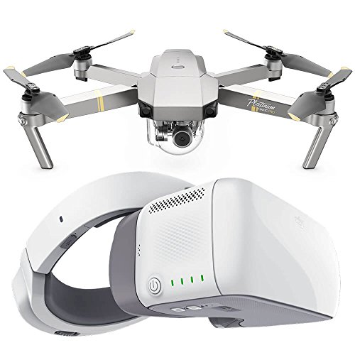 DJI Mavic PRO Platinum Portable Foldable Drone Kit and DJI Goggles 1080p HD Digital Video FPV First Person View Bundle w/ Free Drone World Battery Bank, Remote Lanyard, and DJI Goggles Case by Drone World