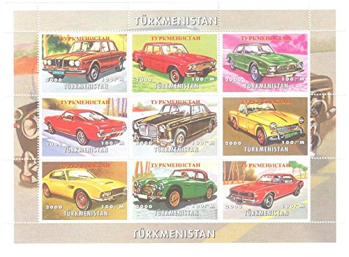 Classic Car Stamps for Collectors - Classic car artwork stamps - 9 mint stamps - never mounted and never hinged