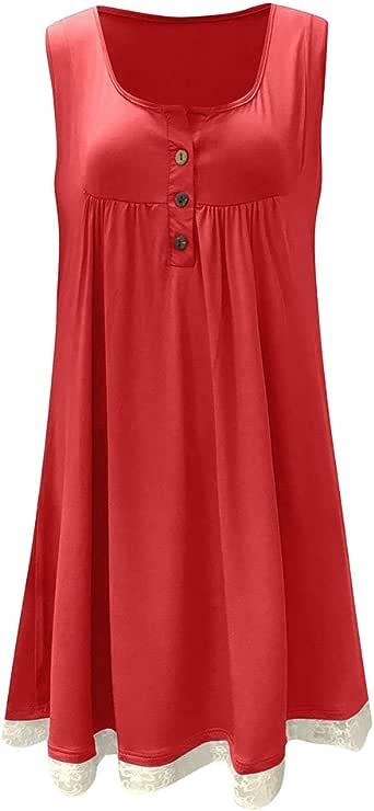 Camisas Mujer Las Mujeres más el tamaño de Encaje botón Informal sin Mangas por Encima de la Rodilla Vestido Mini Vestido Suelto Honestyi: Amazon.es: Ropa y accesorios