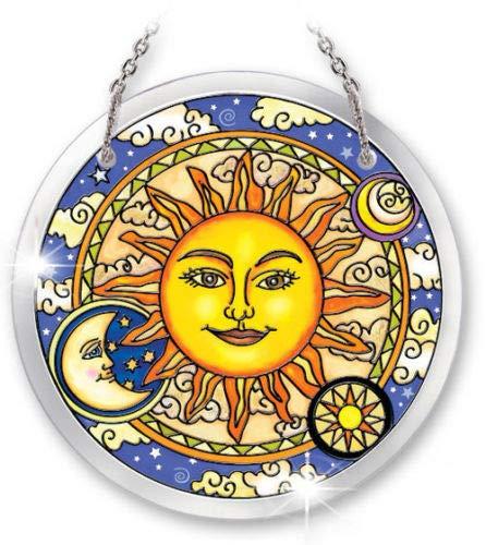 "Stained Glass Suncatcher 4.5"" Round Celestial Harmony Sun Moon"