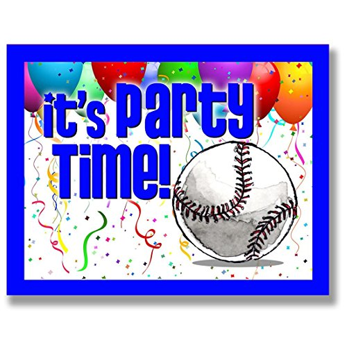 BASEBALL Party INVITATIONS (Blue, 4.25