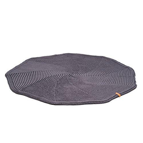 Grey Handmade Knitted Round Carpet Ø 53