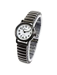 Geneva Gun Black Small Size Stretch Band Women's Watch