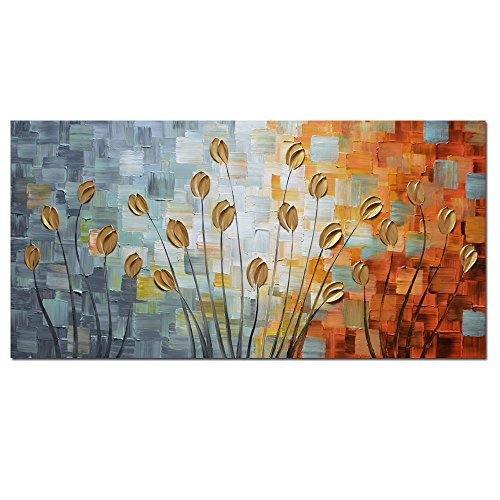 Asdam Art - Oil Paintings on Canvas Budding Flowers 100% Hand-Painted On Canvas Abstract Artwork Floral Wall Art Decorative Pictures Home Decor Golden (20X40 inch)