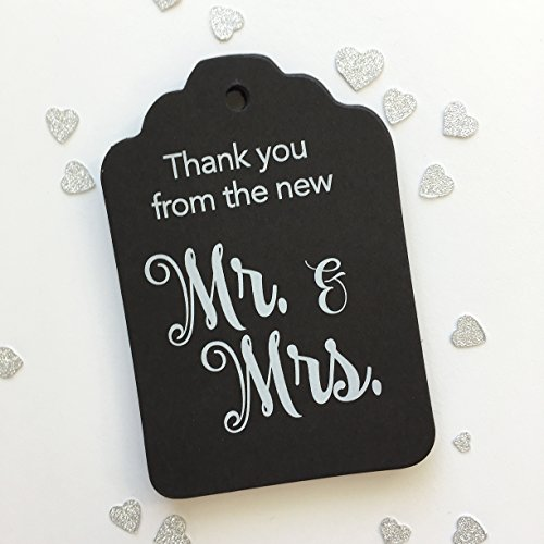 24ct Thank You Wedding Favor Tags, Thank You From The New Mr and Mrs - Bk Sauces