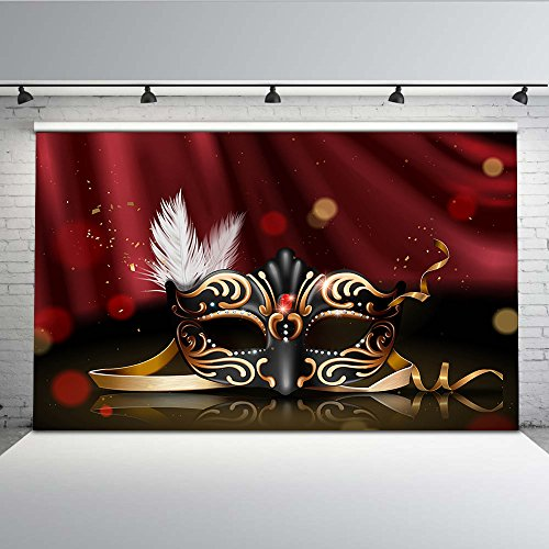 Mehofoto Retro Masquerade Backdrop Black and Gold Mask Photo Background for Parties 7x5 Attractive Mask Party Polyester Photo Backdrops for Debutante ()