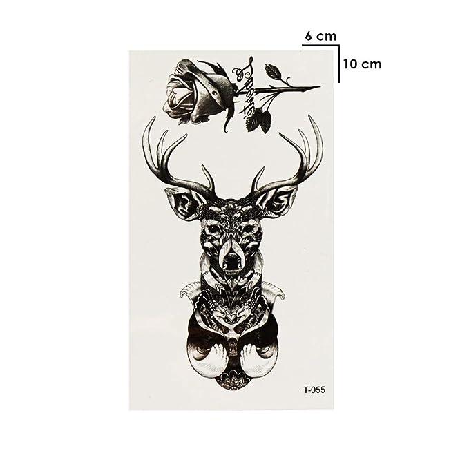 Just Fox – Tatuaje temporal, ciervo, rosa, negro, diseño temporal ...