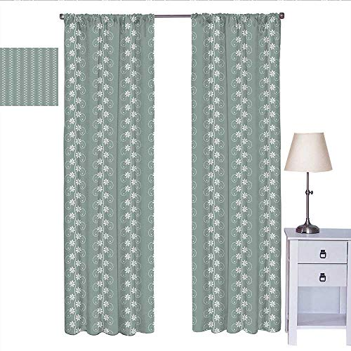 RenteriaDecor Spring Room Darkening Curtains for Bedroom Old Fashion Flowers with Rococo Influences Essence Lace Pattern Print Curtain Living Room Pale Sage Green White W72 x L96