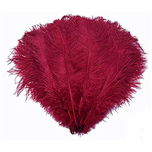 (MELADY Pack of 50pcs Natural Ostrich Feathers 12-14inch(30-35cm) for Home Wedding Party Decoration (Burgundy))