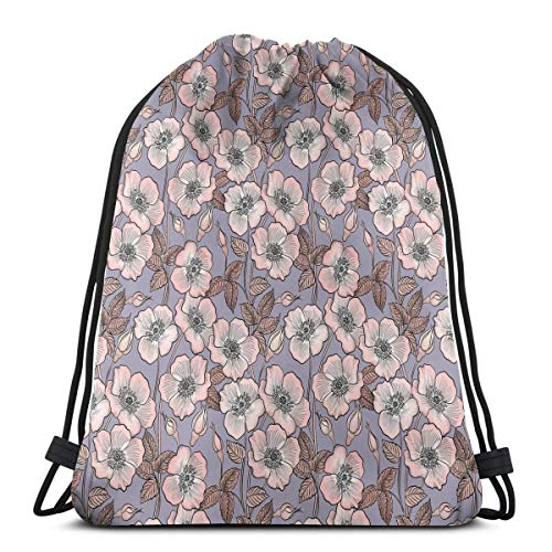 Printed Drawstring Backpacks Bags,Graceful Nature Theme Bedding Plant Poppies Buds With Artistic Look French Garden,Adjustable String Closure