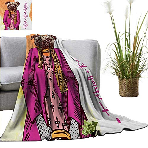 (Pug Blanket Sheets Fashion Icon Dog with Cool Clothes Scarf Necklace Jacket Handbag Tainted Background Home, Couch, Outdoor, Travel Use 55