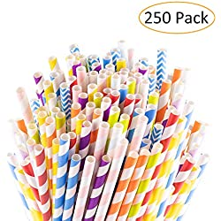 Sangabery 250-Pack Biodegradable Paper Straws - 10 Different Colors Rainbow Stripe Paper Drinking Straws - Bulk Paper Straws for Juices, Shakes, Smoothies (Paper straws)