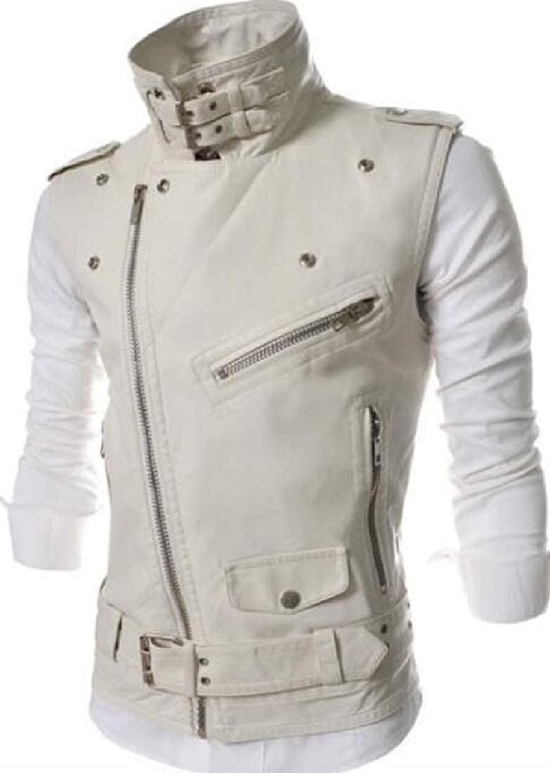 lovever Men Winter Slim Fit Oblique Zippers PU Leather Motorcycle Jacket Vest
